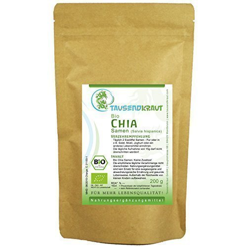 200 g chia samen bio superfood salvia hispanica premium qualit t getrocknet und unbehandelt. Black Bedroom Furniture Sets. Home Design Ideas