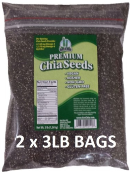 Get Chia Brand BLACK Chia Seeds - 6 TOTAL POUNDS = TWO x 3 Pound Bags - 1