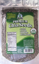 Marquis-Nutra Foods / Get Chia Brand Certified Organic Chia Seeds - 1 TOTAL POUND = ONE x 1 Pound Bag - 1