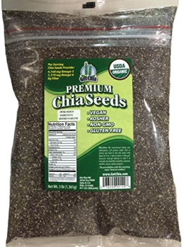 Marquis-Nutra Foods / Get Chia Brand Certified Organic Chia Seeds - 3 TOTAL POUNDS = ONE x 3 Pound Bag - 1