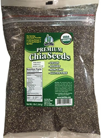 Marquis-Nutra Foods / Get Chia Brand Certified Organic Chia Seeds - 6 TOTAL POUNDS = TWO x 3 Pound Bag - 1