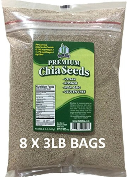 Marquis-Nutra Foods / Get Chia Brand WHITE Chia Seeds - 24 TOTAL POUNDS = EIGHT x 3 Pound Bags - 1