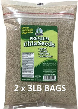 Marquis-Nutra Foods / Get Chia Brand WHITE Chia Seeds - 6 TOTAL POUNDS = TWO x 3 Pound Bags - 1